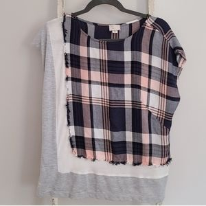 Anthro Postmark♡ Plaid layered short sleeve top